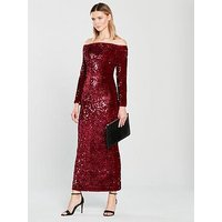 V by Very Bardot Sequin Maxi - Red, Red, Size 14, Women