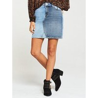 V by Very Denim Block Mini Skirt, Mid Wash, Size 8, Women