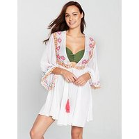 V by Very Embroidered And Crochet Trim Kaftan - White, White, Size 16, Women