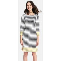 Joules Yvonne Square Neck Interlock Dress With Pockets - Printed , Cream Gold Stripe, Size 12, Women