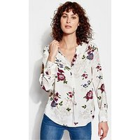 Joules Rosamund Pop Over Blouse With Gathers - Floral Print, Floral, Size 8, Women