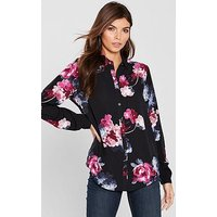 Joules Joules Elvina Border Printed Long Sleeve Shirt, Floral, Size 8, Women
