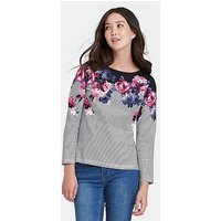 Joules Joules Harbour Print Long Sleeved Jersey Top, Floral, Size 8, Women