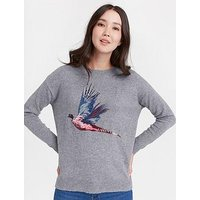 Joules Meryl Slouchy Warm Handle Jumper, Grey, Size 16, Women