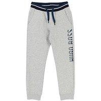 BOSS Boys Side Logo Tracksuit Jogging Bottoms, Light Grey Marl, Size 8 Years