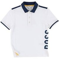 BOSS Boys Short Sleeve Side Polo Shirt - White, White, Size 16 Years