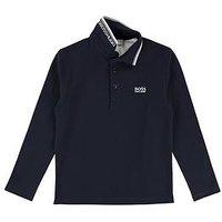 BOSS Boys Classic Long Sleeve Polo, Navy, Size 14 Years