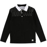 BOSS Boys Long Sleeve Mesh Side Print Polo Shirt, Black, Size 16 Years
