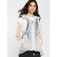 Hunter Vinyl Smock Coat - White, White, Size Xl, Women