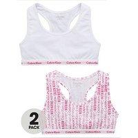 Calvin Klein Girls 2 Pack Logo Bralette, White/Print, Size Age: 12-14 Years, Women