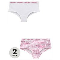 Calvin Klein Girls 2 Pack Logo Shorty Briefs, White/Print, Size Age: 14-16 Years, Women