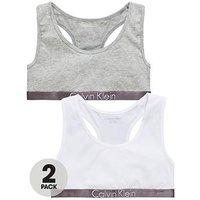 Calvin Klein Girls 2 Pack Bralette, Grey/White, Size Age: 14-16 Years, Women