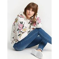 Joules Marlston Fitted Hooded Pull Over Sweatshirt - Printed , Cream, Size 18, Women