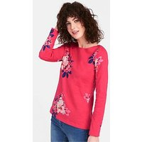 Joules Harbour Print Long Sleeved Jersey Top - Raspberry, Raspberry, Size 14, Women