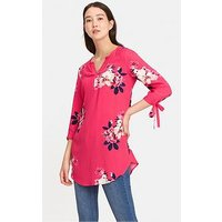 Joules Odelle V-Neck Tunic With Tie Sleeves - Raspberry, Raspberry, Size 14, Women