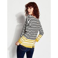 Joules Rima Button Back Jersey Top, Blue Ochre Stripe, Size 8, Women