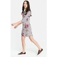 Joules Riviera Print Boarder Dress - Harvest Floral Plum Stripe, Floral, Size 10, Women