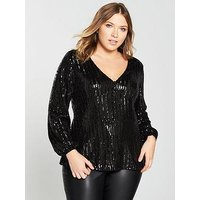 V by Very Curve Sequin V Neck Blouse, Black, Size 26, Women