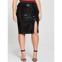 V by Very Curve Sequin Skirt - Black , Black, Size 26, Women