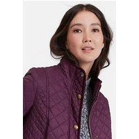 Joules Newdale Quilted Coat, Burgundy, Size 16, Women