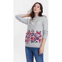 Joules Joules Penny Statement Embroidered Jumper, Grey, Size 12, Women