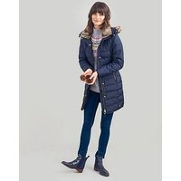 Joules Joules Caldecott Feather And Down Coat With Fur Hood, Marine Navy, Size 8, Women