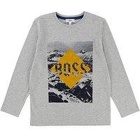 BOSS Boys Long Sleeve Flock Print T-shirt, Light Grey Marl, Size 14 Years