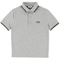 BOSS Boys Short Sleeve Pique Polo Shirt, Light Grey Marl, Size 4 Years