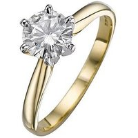 Moissanite 18 Carat Yellow Gold 1 Carat Solitaire Ring, Size Q, Women