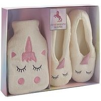 Unicorn Hot Water Bottle And Slippers Set, One Colour, Size 4-5, Women