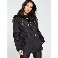 V by Very Fleece Lined Windcheater Jacket - Black , Black, Size 16, Women