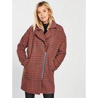 V by Very Check Asymmetric Zip Coat - Orange, Orange/Check, Size 22, Women