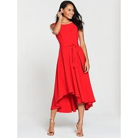Karen Millen Asymmetric Belted Dress - Red