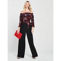 Karen Millen Silk Top Bardot Jumpsuit - Black