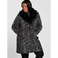 V by Very Curve Faux Fur Collar Coat - Animal Print , Animal, Size 16, Women