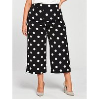V by Very Curve Polkadot Cropped Wide Leg Trouser, Print, Size 20, Women