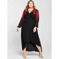 V By Very Curve Embellished Shoulder Wrap Maxi Dress - Black