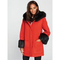 Armani Exchange Armani Exchange Caban Coat Fith Faux Fur Trim, Spritz, Size Xs, Women