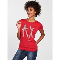 Armani Exchange Logo Sequin T-shirt - Red, Red, Size S, Women