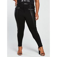 V by Very Curve Zip Detail Faux Leather Trouser - Black, Black, Size 16, Women