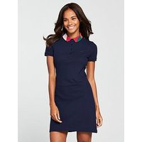 Lacoste Polo Dress With Geo Block Collar - Navy Blue, Navy Blue, Size 36, Women