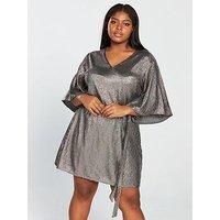 V By Very Curve Kimono Sleeve Sequin Dress - Silver