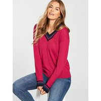 Lacoste V-Neck Sweatshirt - Red, Red, Size 44, Women