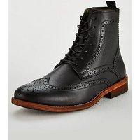 Barbour Belford Brogue Boot, Black, Size 9, Men
