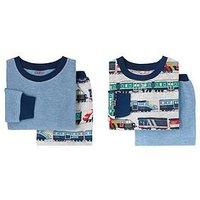 Cath Kidston Baby Boys 2 Pack Trains Pyjama Set, Grey Marl, Size 9-10 Years