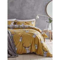 Product photograph showing Catherine Lansfield Stag Duvet Cover Set In Ochre