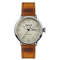 Ingersoll Chronicle The Trenton Cream Day-Date Dial Brown Horween Leather Strap Mens Watch, One Colour, Men