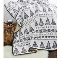 Product photograph showing Catherine Lansfield Nordic Tree Christmas Throw - Grey