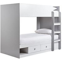 Product photograph showing Peyton Storage Bunk Bed With Mattress Options Buy And Save - White Grey - Bunk Bed With Premium Mattress