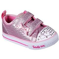 Skechers Skechers Twinkle Toes Sequin Two Strap Plimsoll, Pink, Size 10 Younger